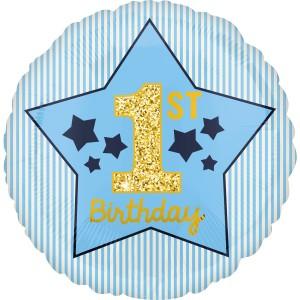 """Balony foliowe z cyframi i liczbami - Balon foliowy na Roczek """"1st Birthday"""", niebieski / 4037001"""
