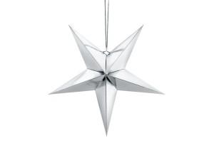 Gwiazdy wiszące - Srebrna gwiazda świąteczna / 45 cm