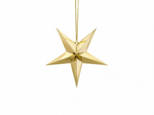 Gwiazdy wiszące - Złota gwiazda świąteczna / 30 cm