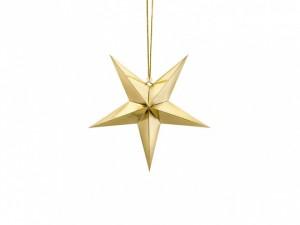 Gwiazdy wiszące - Złota gwiazda świąteczna / 70 cm