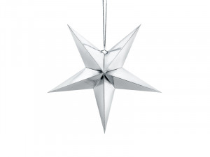 Gwiazdy wiszące - Srebrna gwiazda świąteczna / 70 cm