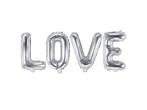 """Napisy z balonów foliowych na powietrze - Balon foliowy """"Love"""", srebrny / 140x35 cm"""