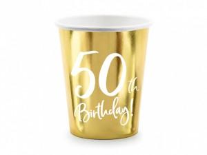"""Kubeczki papierowe z cyframi i liczbami - Kubeczki papierowe na 50 urodziny """"50th Birthday"""""""