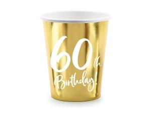"""Kubeczki papierowe z cyframi i liczbami - Kubeczki papierowe na 60 urodziny """"60th Birthday"""""""