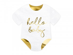 """Serwetki papierowe z napisami - Serwetki na Narodziny dziecka śpioszki """"Hello Baby"""" / 16x16 cm"""