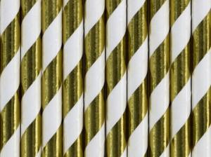"""Słomki proste papierowe - Słomki papierowe """"Paski"""", złote metalizowane / 19,5 cm"""