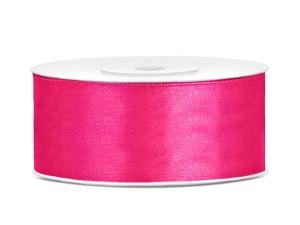 Tasiemki satynowe 25 mm - Tasiemka satynowa, ciemny różowy / 25 mm