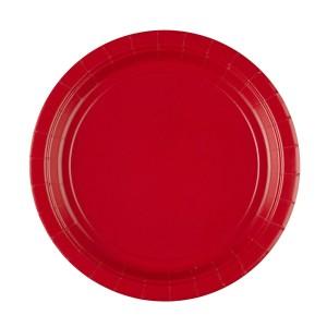 Talerzyki jednokolorowe - Talerzyki papierowe - czerwone / 22,8 cm - 20 szt
