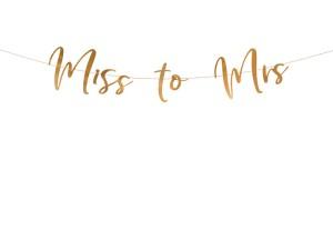 """Dekoracje wiszące na Wieczór Panieński - Girlanda różowe złoto """"Miss to Mrs"""" / GRL77-019R"""
