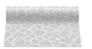 """Bieżniki flizelinowe wzorzyste - Bieżnik flizelinowy wzorzysty """"Subtle Roses"""", srebrny / 40cmx24m"""