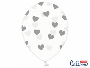 Balony lateksowe w serduszka - Balony lateksowe transparentne w srebrne Serduszka /  SB14C-228-099S/5