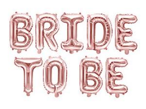 """Girlandy napisy z balonów na powietrze - Balon foliowy różowe złoto """"Bride to be"""" / 340x35 cm"""
