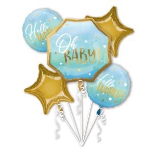 """Zestawy balonów na Baby Shower i Narodziny Dziecka - Zestaw balonów na Narodziny """"Oh Baby"""" dla chłopca"""