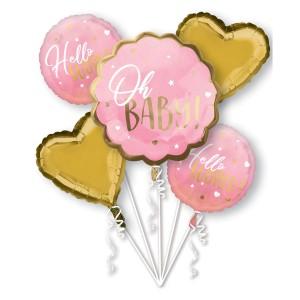 """Zestawy balonów na Baby Shower i Narodziny Dziecka - Zestaw balonów na Narodziny dziecka """"Oh Baby"""" dla dziewczynki"""