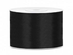 Tasiemki satynowe 50 mm - Tasiemka satynowa, czarna / 50 mm