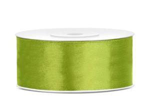 Tasiemki satynowe 25 mm - Tasiemka satynowa, zielone jabłuszko / 25 mm