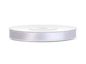 Tasiemki satynowe 6 mm - Tasiemka satynowa, biała / 6 mm