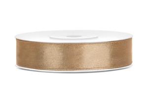 Tasiemki satynowe 12 mm - Tasiemka satynowa, jasne złoto / 12 mm