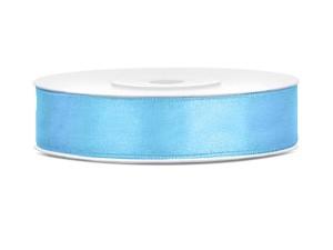 Tasiemki satynowe 12 mm - Tasiemka satynowa, błękitna / 12 mm