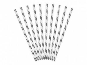 """Słomki proste papierowe - Słomki papierowe """"Paski"""", srebrne metalizowane / 19,5 cm"""