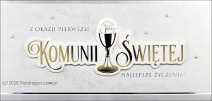 """Kartki i pamiątki i komunijne - Etui na pieniądze z życzeniami """"Pierwsza Komunia Święta"""" / HM-07"""