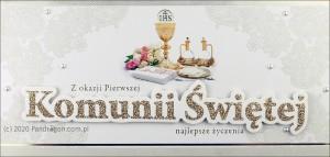"""Kartki i pamiątki i komunijne - Etui na pieniądze z życzeniami """"I Komunia Święta"""" / HM-06"""