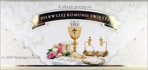 """Kartki i pamiątki i komunijne - Etui na pieniądze z życzeniami """"I Komunia Święta"""" / HM-05"""