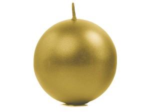 Świeczki kule - Złota świeca kula, metalizowana / 8 cm