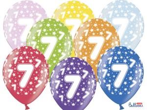 Balony lateksowe cyfry i liczby - Balony na 7 urodziny, mix kolorów / SB14M-007-000-6