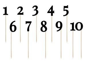 Numery na stół - Numery na stoły gości czarne