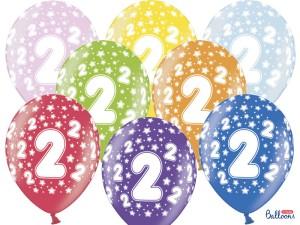 Balony lateksowe cyfry i liczby - Balony na 2 urodziny, mix kolorów / SB14M-002-000-6