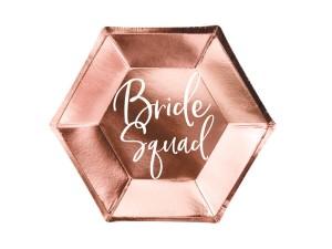 """Nakrycia stołu na Wieczór Panieński - Talerzyki papierowe """"Bride Squad"""" / TPP21-019R"""