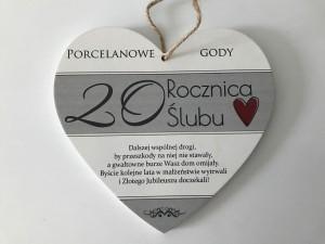 Tabliczki z dedykacją do powieszenia - Tabliczka Serce 20 Rocznica Ślubu