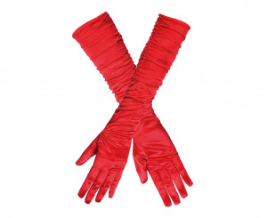 Rękawiczki - Rękawiczki wieczorowe czerwone / 03142