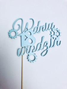 """Toppery z napisami - Napis """"W dniu 18 urodzin"""", niebieski"""