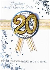 """Kartki na Rocznicę Ślubu - Kartka na rocznicę ślubu """"20 Rocznica Ślubu"""" /  HM-100-442"""