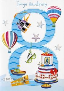 """Kartki urodzinowe - Karnet """"Twoje urodziny 8"""" / HM-200-988"""