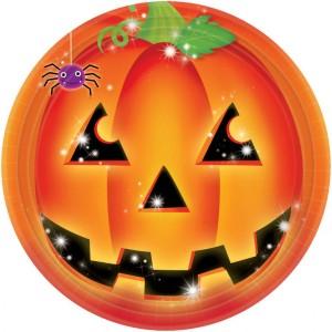 """Talerzyki z nadrukiem - Talerze papierowe """"Dynia Halloween"""" / 23 cm"""