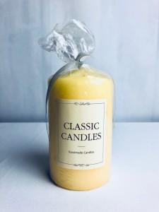 Świeczki walce - Żółta świeca walec, matowa / 15x8 cm
