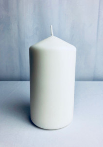 Świeczki walce - Biała świeca walec, matowa / 15x8 cm