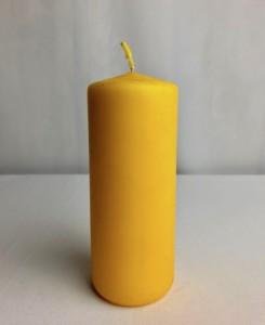 Świeczki walce - Żółta świeca walec, matowa / 15x6 cm
