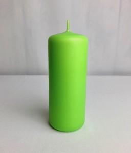 Świeczki walce - Jasnozielona świeca walec, matowa / 15x6 cm