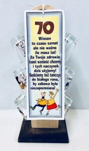 """Kieliszki okolicznościowe - Stojak z kieliszkami na """"70 urodziny"""""""