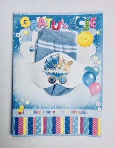Karnety okolicznościowe - Kartka na Narodziny ze skarpetkami
