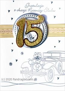 """Kartki na Rocznicę Ślubu - Kartka na rocznicę ślubu """"15 Rocznica Ślubu"""" / HM-100-441"""