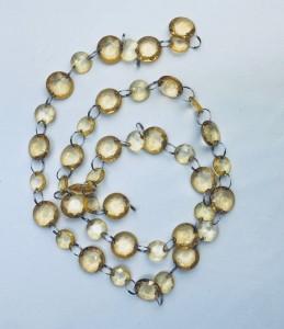 Girlandy kryształowe - Girlanda kryształowa, złota / 1m