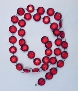 Girlandy kryształowe - Girlanda kryształowa, czerwona / 1m