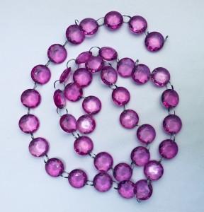 Girlandy kryształowe - Girlanda kryształowa, różowy, 1m