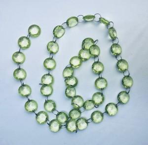 Girlandy kryształowe - Girlanda kryształowa, zielony / 1m