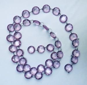 Girlandy kryształowe - Girlanda kryształowa, liliowa / 1m